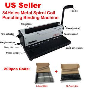 All Steel Metal Spiral Coil 34holes Punching Binding Machine 3size 300pcs Coils