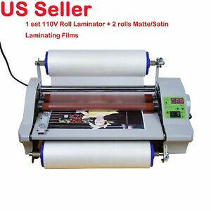110v 14inch High Speed Cold Hot Thermal Laminate Machine Wt 2 Roll Matte Films