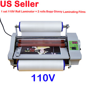 110v 14 Inch High Speed Cold Hot Thermal Laminate Machine Wt 2 Roll Glossy Films