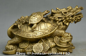 Chinese Fengshui Old Bronze Dragon Turtle Animal Tortoise Money Yuanbao Statue
