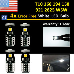 4x Upgraded Canbus 168 T10 Led Interior Dome Map License Light Bulbs 194 2825 B9