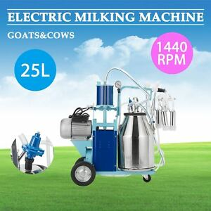 25l Electric Milking Machine For Goats Cows W bucket 2 Plug 12cows hour Mps