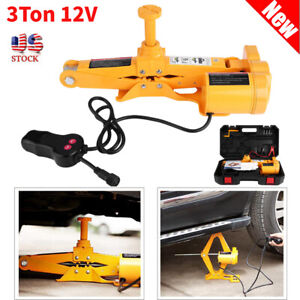 12v Auto Electric Scissor Car Jack Lift Garage Lifting Impact Wrench 3 Ton