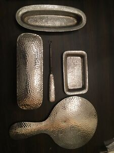 Rare Arts Crafts Sterling Silver Hammered 5 Pc Vanity Set Mirror Tray Brush