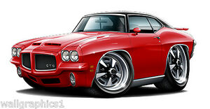 1971 Pontiac Gto Ram Air Car Wall Graphic Removable Vinyl Decal Home Decor Nip