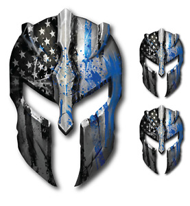 3x Molon Labe Spartan Helmet Police American Flag Thin Blue Line Decal Sticker