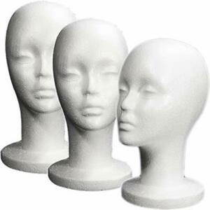 Female Styrofoam Mannequin Head Long Neck 3 Pcs