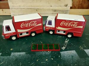 2 Vintage Buddy L Coca-Cola Truck Metal Body 5 Cases and 1 Dolly