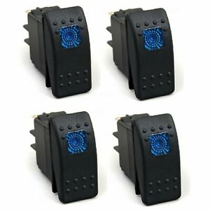 4 Pack Waterproof Blue Led Rocker Switch On off Boat Marine Spst 3p 12v 20 Amp