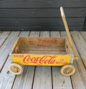 Vintage COCA-COLA WOOD CRATE WAGON c1979; Wooden Folk Art; Coke Advertising