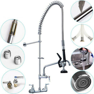 8 Inch Center Wall Mount Commercial Faucet W Pull Down Pre rinse Spray Valve Us