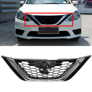 Chrome Upper Grill Front Bumper Hood Grille Fit For Nissan Sentra 2016 2017 2018