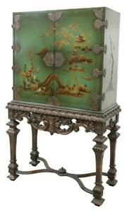 Chinoiserie Cabinet On Stand Decorative Gorgeous Vintage Antique