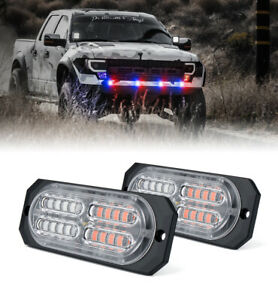 Xprite Pair Of Led Strobe Lights Grille Dash Decorative Flash Beacon Red Blue