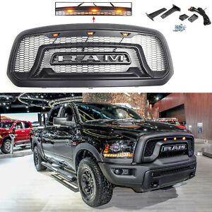 Fit For 2013 2018 Dodge Ram 1500 Mesh Grille Rebel Style Grill Front Bumper Led