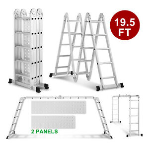 19 5ft Extension Multi Purpose Step Ladder Folding Portable Aluminum 2 Platforms