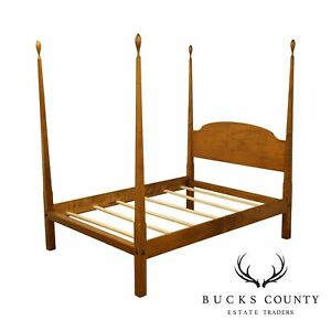 Tiger Maple Custom Crafted Queen Poster Bed