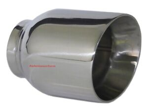 Stainless Steel Exhaust Tip Double Wall Angle 2 5 Inlet 4 Outlet 5 Long