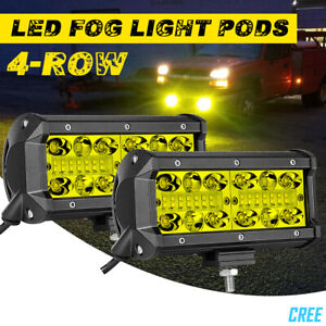 2x 7 400w Yellow 3000k Led Fog Work Light Bar Spot Flood Driving Off Road Utv