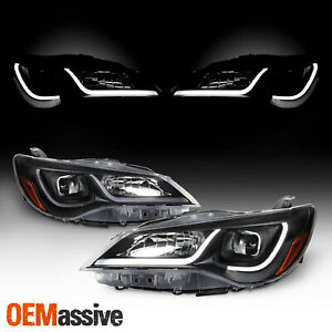 For 15 17 Toyota Camry Led Light Tube Drl Projector Headlights Black Housing