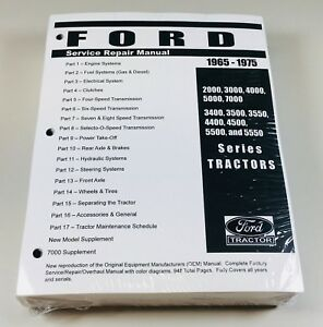 Ford 3500 3550 4400 4500 5500 Tractor Service Shop Manual 1965 1975