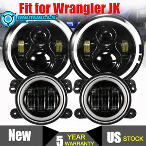 For Jeep Wrangler Jk 52 Led Light Bar 7 Halo Led Headlights 4 Pods mount