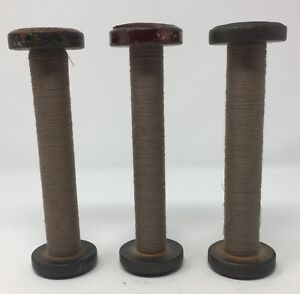 Vintage Lot Of 3 Wood Thread Spools Industrial Textile Display Stands Bobbin