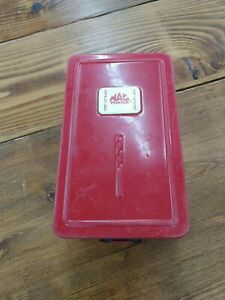 Vintage Mac Tools Red Metal Drill Bit Case 21 Spots Piece Portable No Bits