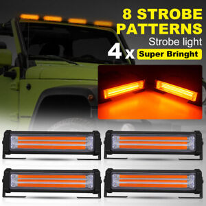 4 X Amber Cob Led Emergency Hazard Warning Flash Strobe Beacon Light Bar 40w set