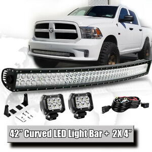 42in Front Curved S F Led Light Bull Bar 2x4 Pods Wiring For Dodge Ram 1500 2500