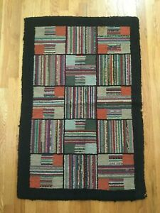 Antique Americana Hooked Rug Geometric 1900 S Small