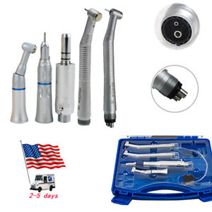 4 2 Holes Dental High Low Speed Dental Handpiece Kit Push Button With Box Usa