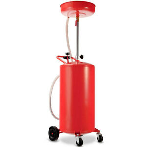 Waste Oil Drain Tank Air Operated Adjustable High Efficient Portable Red 20 Gal