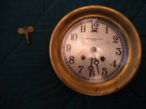 Large Brass Early 1910 S Chelsea Ships Bell Clock Boston Bigelow Kennard 120958