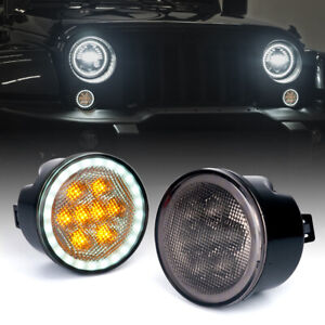 Led Amber Turn Signal Light With Smoke Lens halo Drl For 07 18 Jeep Wrangler Jk