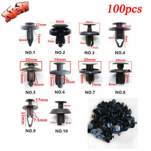 100 Pcs Trunk Screw Rivets Set Car Bumper Fender For Auto Plastic Fastener Clips