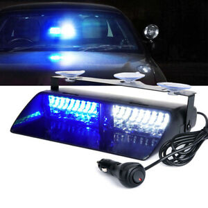 Car 16 Led Blue white Police Strobe Flash Light Dash Emergency Flashing Light