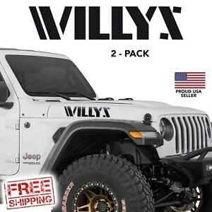 Willys Jeep Wrangler Hood Decal Set Stickers Fender Rubicon Cj Yj Tj Jk 2 Pack