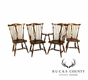 Unique Furniture Vintage Set 4 Solid Cherry Windsor Dining Chairs