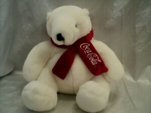 Coca-Cola White Soft Polar Bear W/Red Scarf Stuffed Animal The Boyds Collection