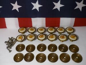 Lot Of 2 Vtg Hitchcock Federal Eagle Drawer Pulls Brass Cabinet Knobs Handles