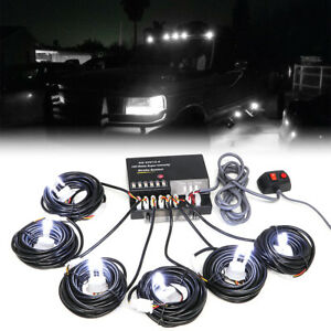 Hide A Way 120w 6 Led Hid Bulbs White Hazard Emergency Warning Strobe Light Kit