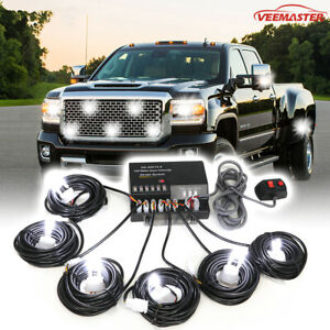 Hideaway 120w 6 Led Hid Bulbs White Hazard Emergency Warning Strobe Light Kit