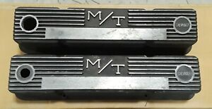 Mickey Thompson M T Black Wrinkle Small Block Chevy Valve Covers 302 327 350 283