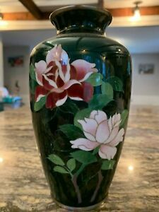 Beautiful Japanese Silver Cloisonne Vase With Floral Bird Decorations