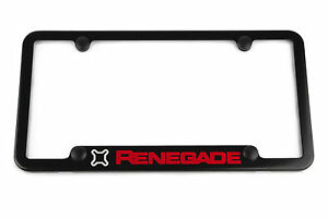 Jeep Renegade License Plate Frame Satin Black Silver Red Engraved Notched