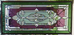 Stained Glass Transom Window Hanging 34 X 16 1 2 Brass Metal Frame