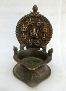 Antique Old Rare Brass Hindu Goddess Laxmi Ganesha Figure Holy Worship Oil Lamp