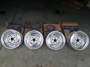 4 Vintage Superior Chrome Reverse 13x5 5 Inch 5x4 Wheels Rims Nos Dodge Plymouth