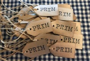 25 Word Prim Primitive Grungy Coffee Stained Hang Tags Handmade Hand Stamped
